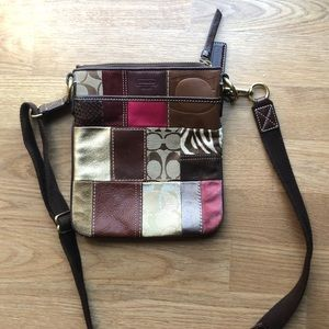 RARE Coach Leather Crossbody pink/brown